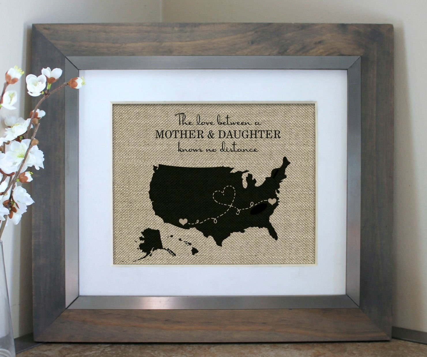 framed print of U.S. map with a line between two locations that are marked with hearts