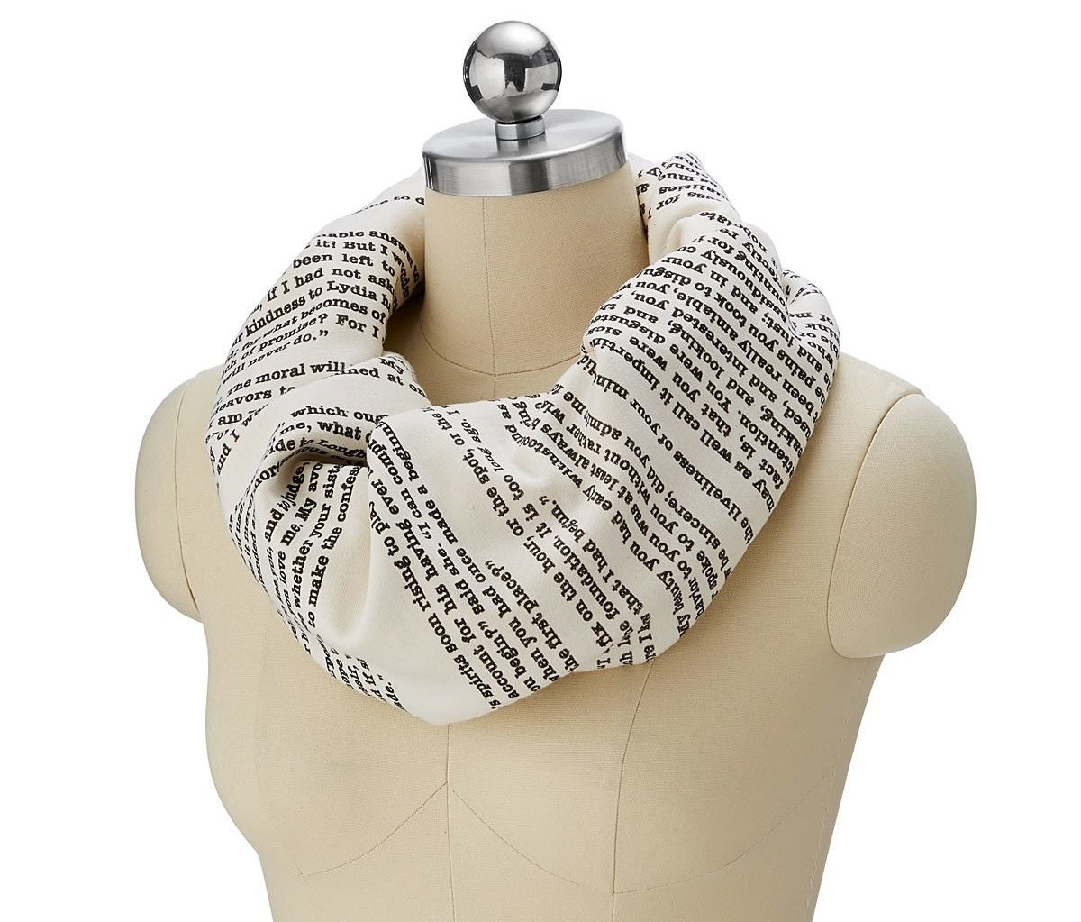 mannequin with a loop scarf with text printed on it