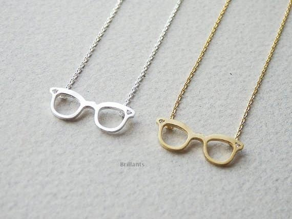 1b855af31465 A glasses pendant necklace to stylishly rep wearing glasses with pride.