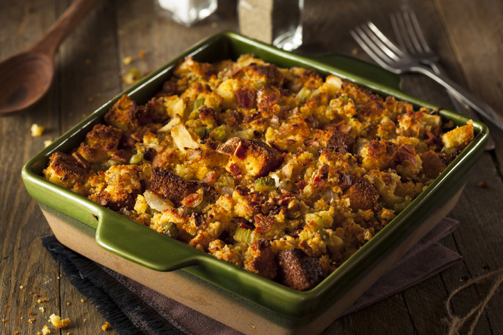 Stuffing -  Stuffing is basically just bread, so it deserves to be ranked high. I don't care if it's cooked inside a turkey, inside a roast, or in a baking dish — stuffing is always pretty good.