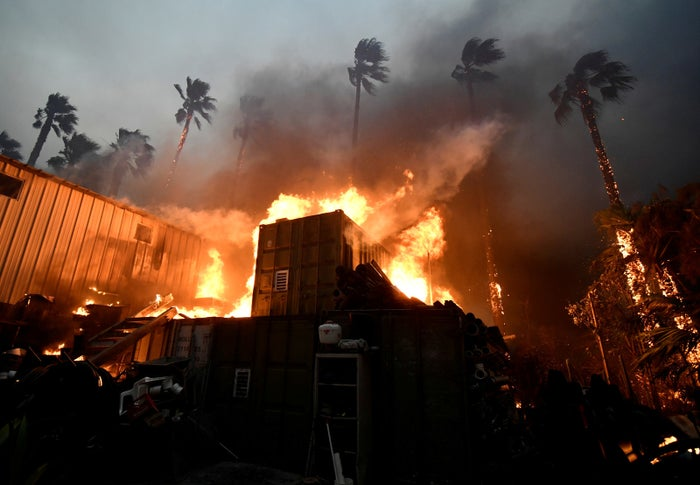 A home is engulfed in flames in Malibu, California.