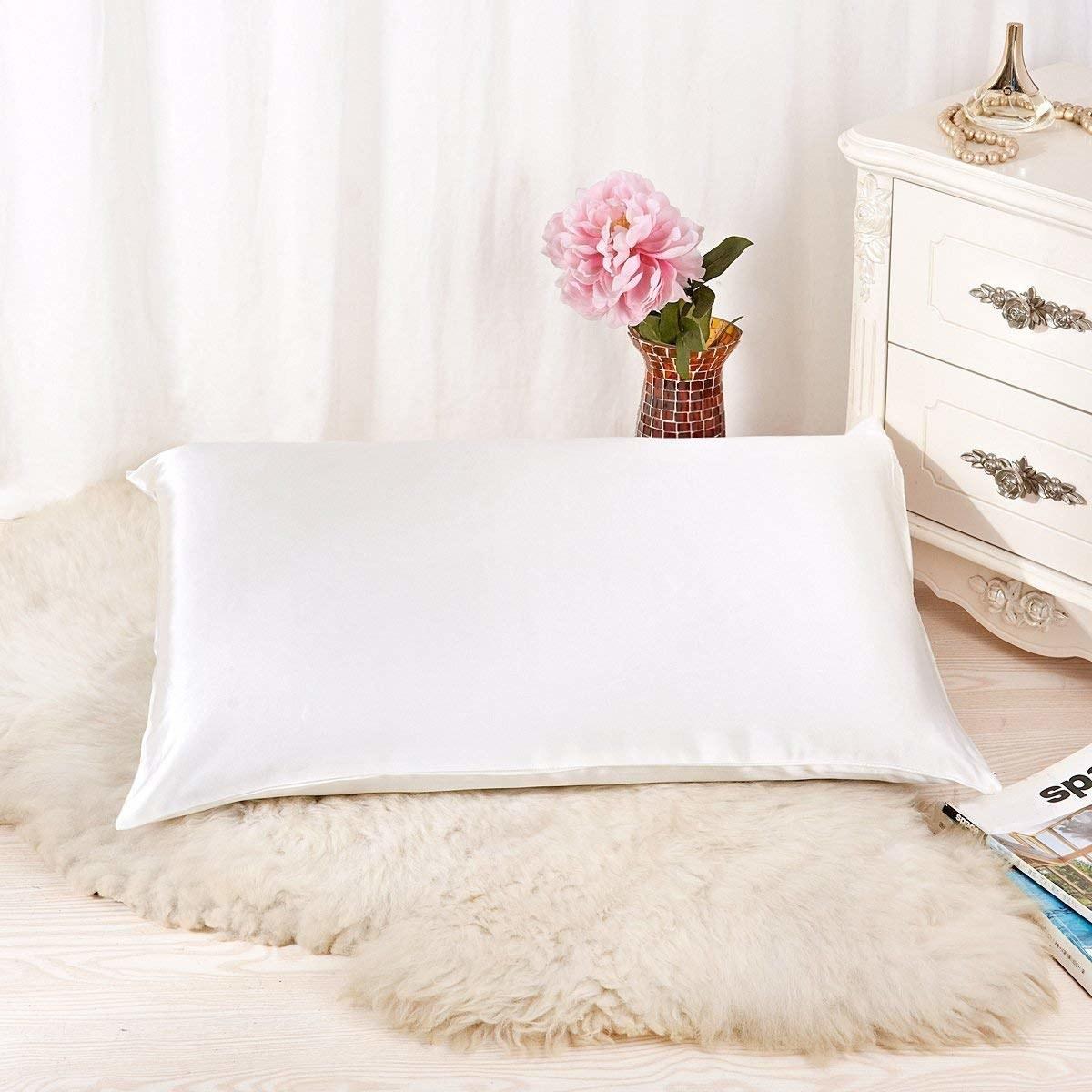 a white silk pillowcase