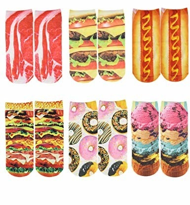 six pairs of ankle socks with prints on them like donuts, ice cream, hot dogs, etc.