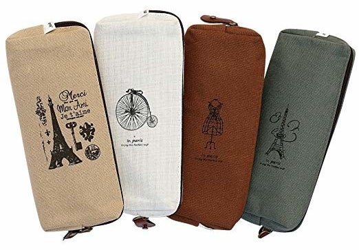 four rectangle pouches with French illustrations on them