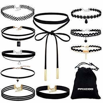 various black chocker necklaces