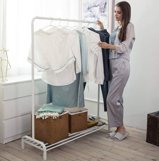 """The rack includes two wrenches and the assembly instructions. Promising review: """"I recently moved into an apartment and the room I had didn't have a closet. I wanted something that looked nice and was sturdy for all my clothes. I was a little worried since this didn't have any reviews yet. But I'm glad I bought it anyways. It's not too pricy, very sturdy, and looks good out in the open."""" —Christabel Matthews Price: $36.99 (available in two colors)"""