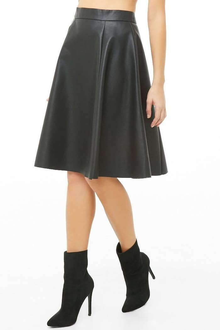 """From Grease, duh.Price: $16.03 (originally $22.90; available in sizes XS–L).Promising review: """"This is such a beautiful skirt and the faux leather is so soft. It fits well and drapes beautifully. I am purchasing a second one as a back up because I never want to be without this beautiful skirt."""" —Lulu K."""