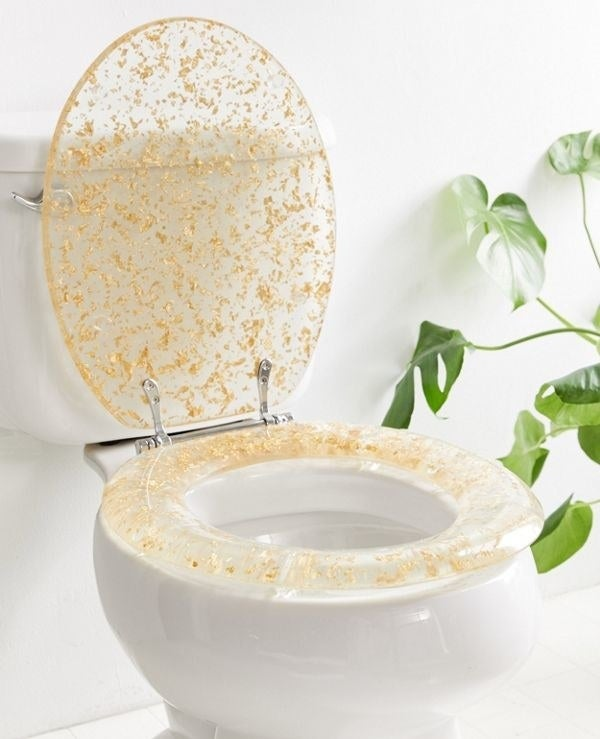 The acrylic toilet seat with embedded gold flakes
