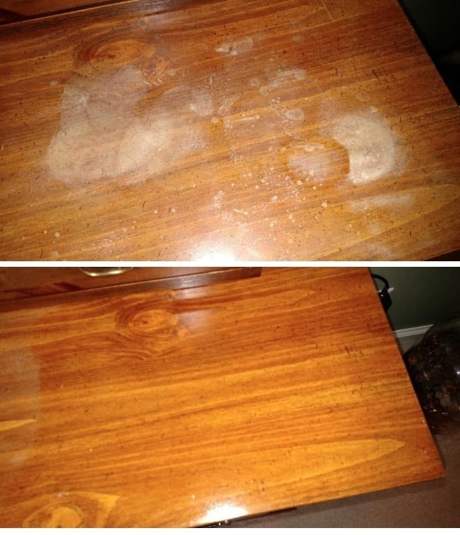 A review photo before and after of a table covered with grime and drink rings, and polished and shiny after