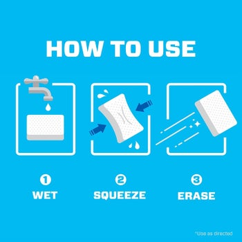 An illustration showing how to use the erasers: just wet, squeeze them to remove excess moisture, and use them