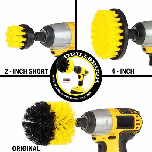 The three attachments: 2-inch and 4-inch flat brushes and the original rounded brush