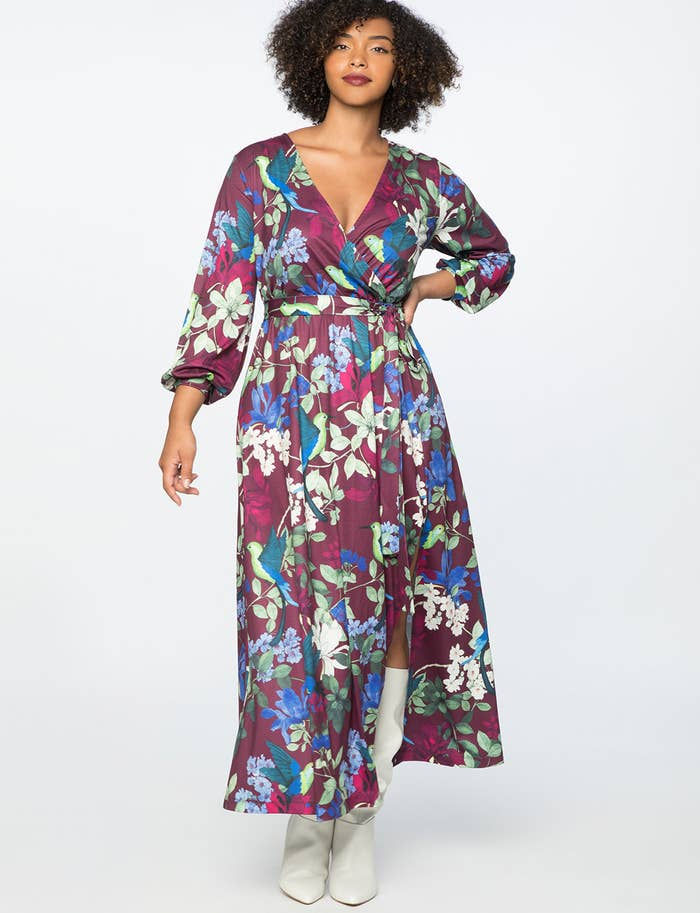 f673b39bb3094 A silky Eloquii patterned maxi destined to make you stand apart from the  rest of your colleagues — I m not saying it s a competition