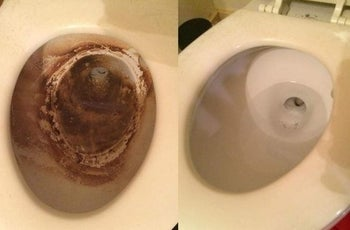 A reviewer before/after of a toilet with severe brown staining, and the same toilet completely clean