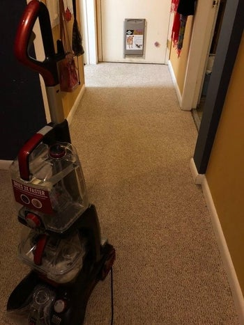 The Hoover machine on the same carpet, showing how clean it is after using