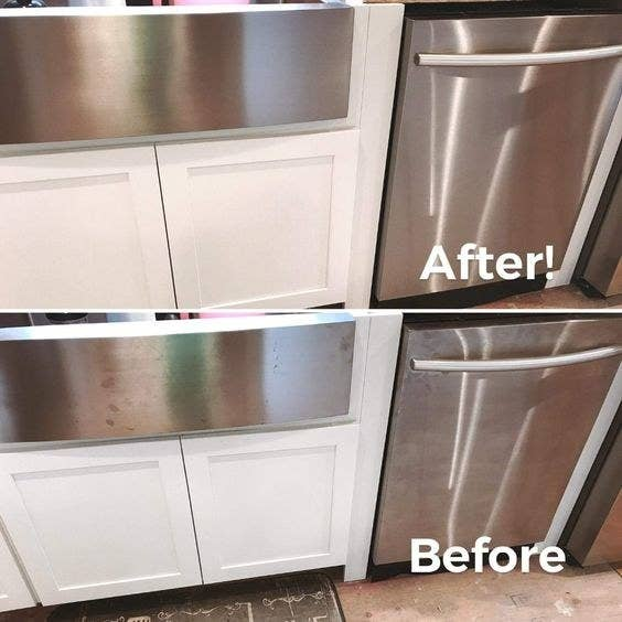 A review photo before (fingerprints all over) and after (gleaming clean) of a stainless steel dishwasher