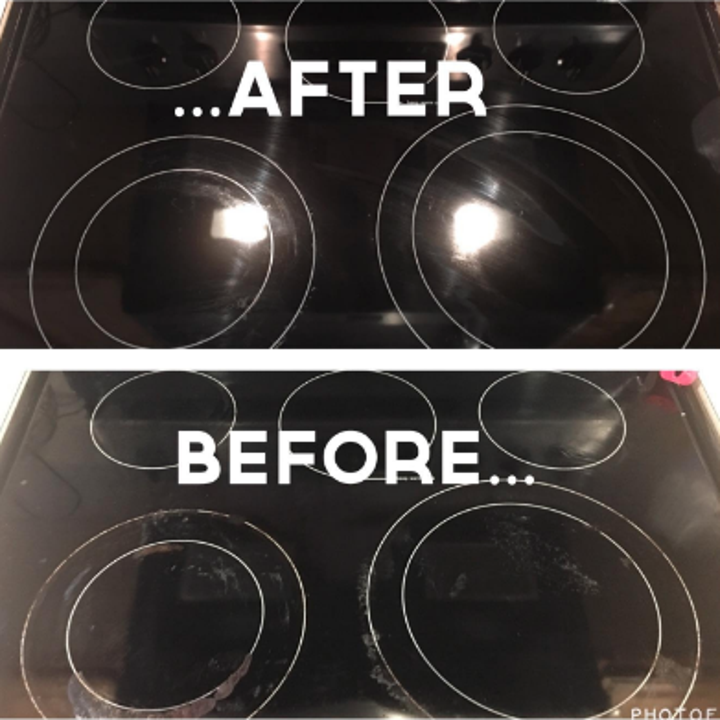 A before/after of a glass stovetop dirty before and shiny after