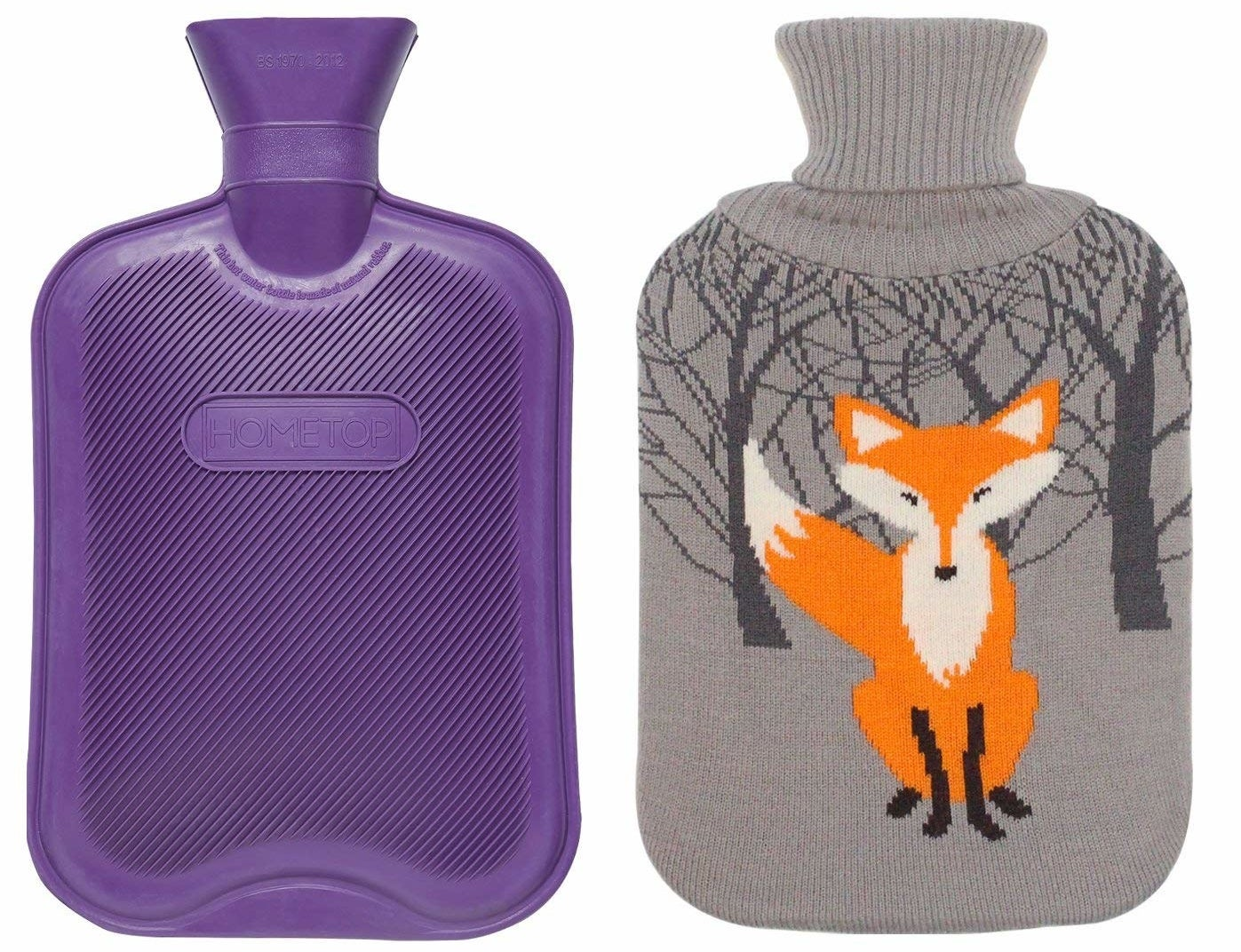 The purple hot water bottle with the grey knit cozy