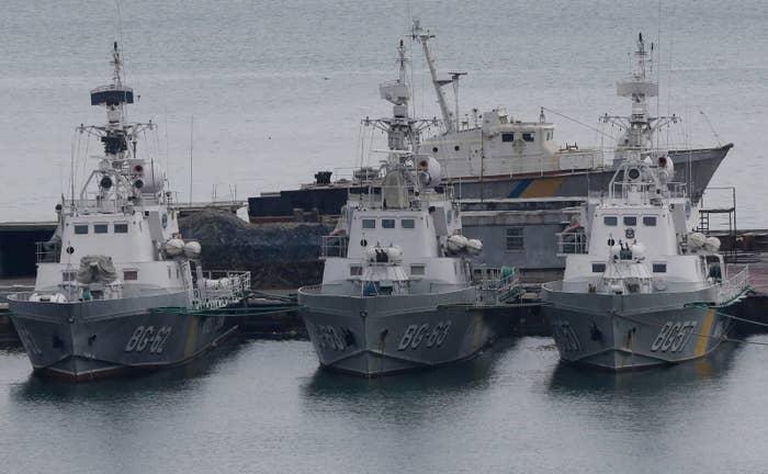 Ukrainian border guard boats in the Black Sea Port of Odessa.