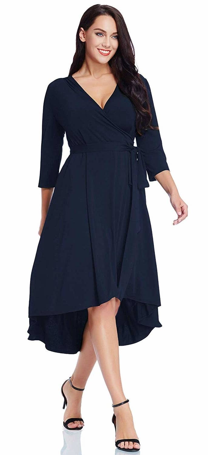 0a4fecd0 A hi-lo wrap dress perfect for serving up some workplace-appropriate curves  and showing everyone who's boss.