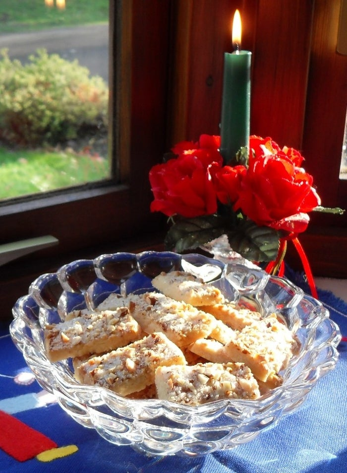 What is it: A shortbread cookie topped with chopped almonds and sugar.—anneboleyntheheadlessoneGet the recipe.