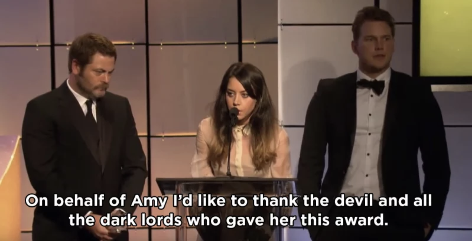Aubrey thanking the devil for the award