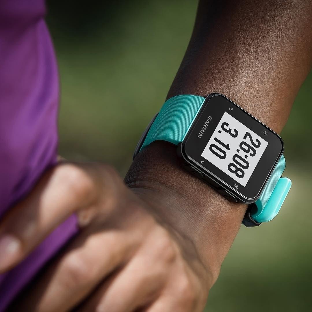closeup of person's wrist wearing the Garmin watch