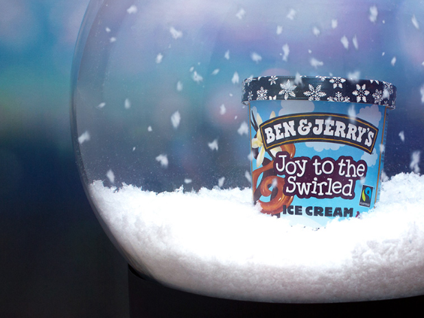 """""""Joy To The Swirled"""" is a seasonal Ben & Jerry's flavor based on the iconic Christmas carol """"Joy To The World."""" You can only get it in Switzerland, the Netherlands, Ireland and the United Kingdom."""
