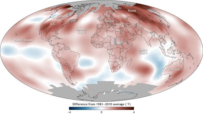 Global surface temperature in 2017 compared to the 1981–2010 average.