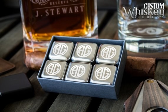 whiskey stones in a box with monogrammed letters