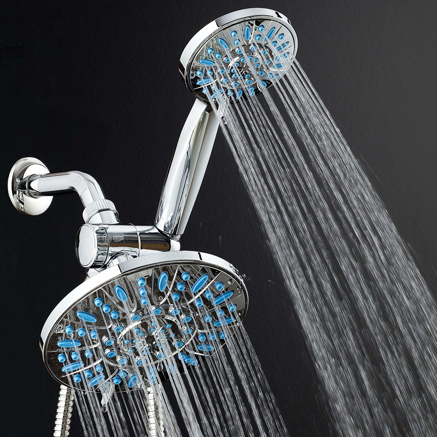 """Promising review: """"My family really loves this dual shower head. I especially love the mist setting on the large head — it filled my bathroom with with hot steam when I was very sick with the flu/pneumonia. The large head is great for relaxing muscles and washing your hair. I grab the small head to rinse body parts. The small hand-held shower head is also great for giving your dog a bath and washing down the shower walls and tub. Both heads have settings that are either high pressure or lower pressure, depending on how many holes have water jetting out of them as per setting selected. I bought this during a lightening deal, but I would buy it again at full price. This is a great product and easy to install."""" —M. Spencer Get it from Amazon for $49.99."""