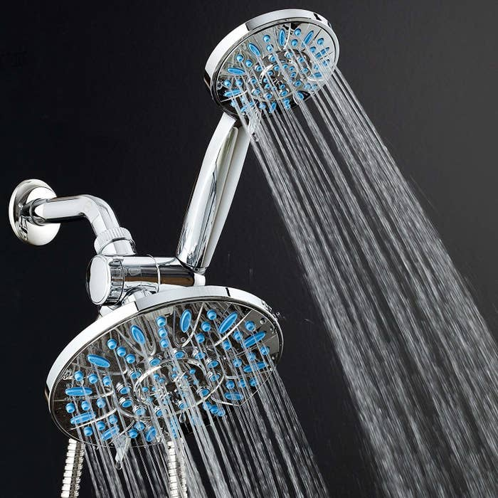 "Promising review: ""My family really loves this dual shower head. I especially love the mist setting on the large head — it filled my bathroom with with hot steam when I was very sick with the flu/pneumonia. The large head is great for relaxing muscles and washing your hair. I grab the small head to rinse body parts. The small hand-held shower head is also great for giving your dog a bath and washing down the shower walls and tub. Both heads have settings that are either high pressure or lower pressure, depending on how many holes have water jetting out of them as per setting selected. I bought this during a lightening deal, but I would buy it again at full price. This is a great product and easy to install."" —M. Spencer Get it from Amazon for $49.99."