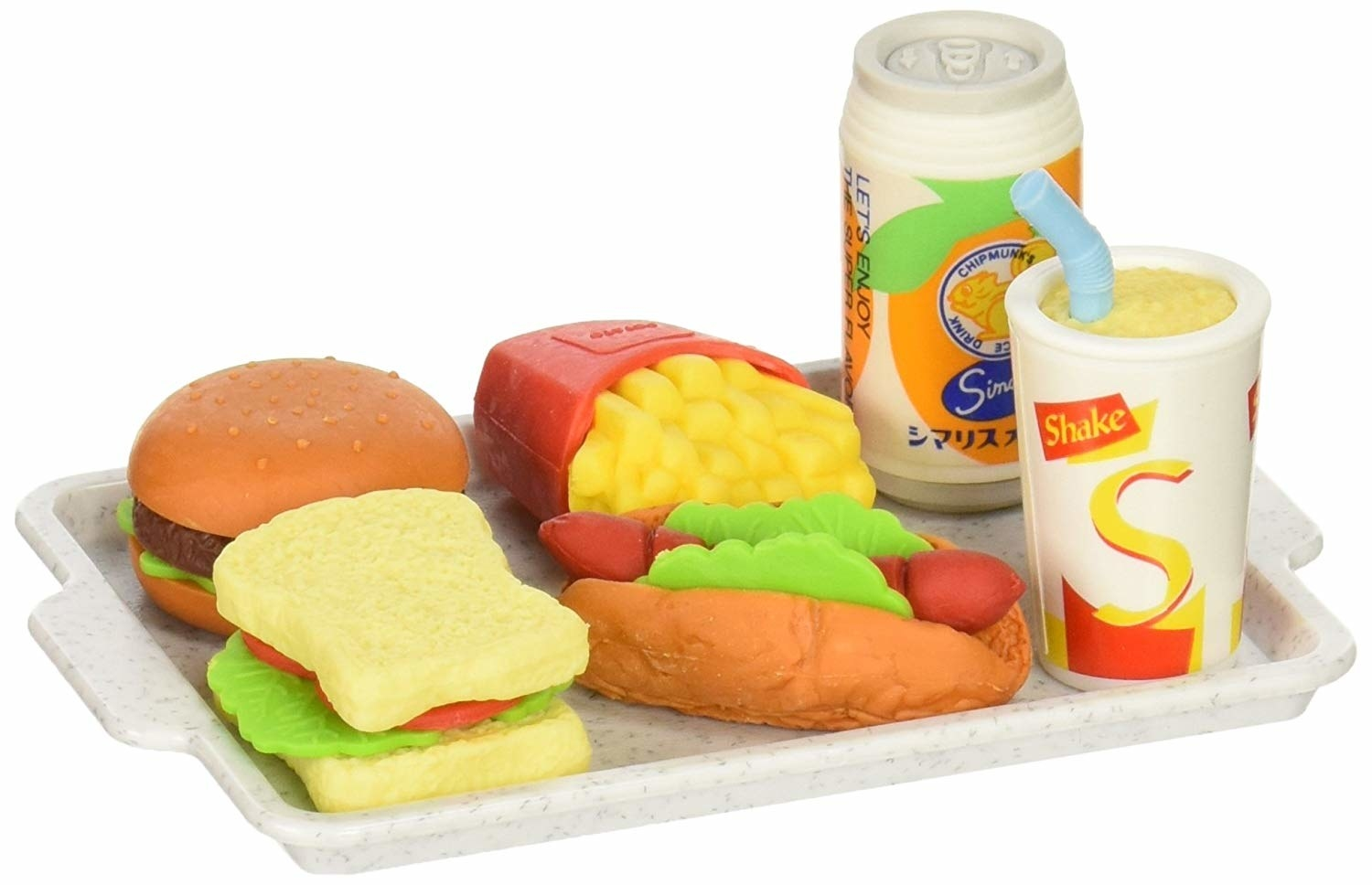 eraser that look like a fast food order on a tray