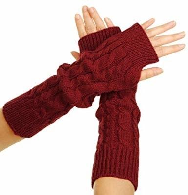 dark red fingerless gloves