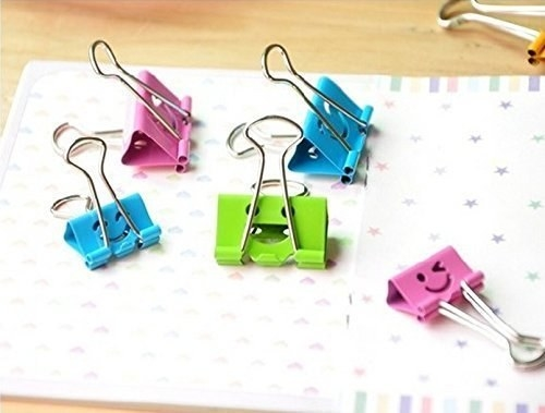 binder clips with happy faces on them
