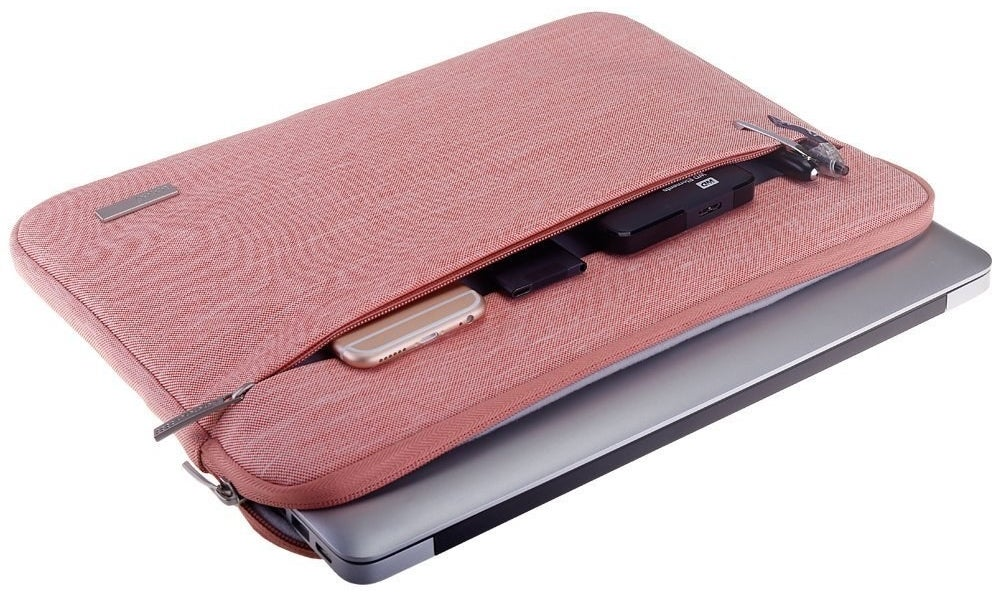 light pink laptop case with a storage pocket on the front