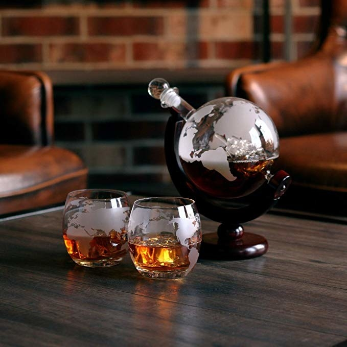 the globe decanter and matching glasses that look like the earth