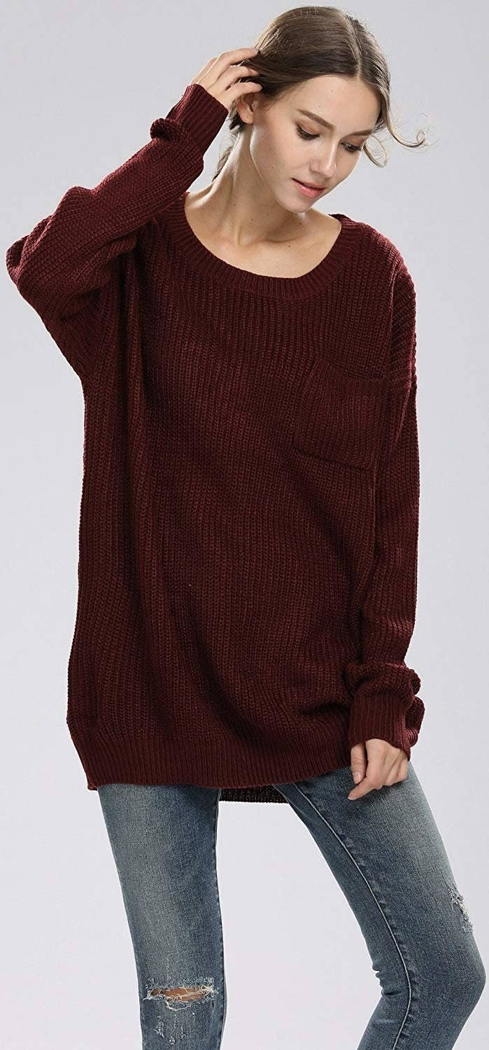A slouchy pullover sweater (with a chest pocket) you can throw on when you  only have five minutes to get ready. d1c0c421b