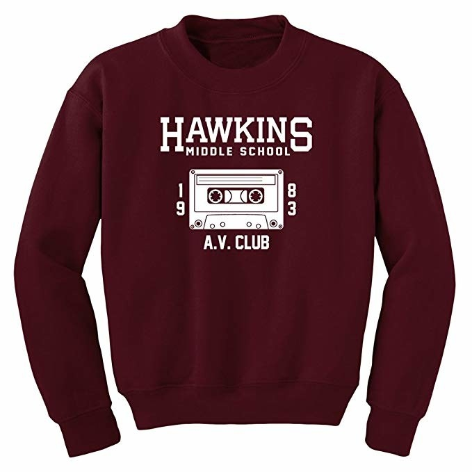 The pullover sweatshirt with a cassette tape logo on it in burgundy