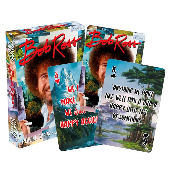Add some art and joy to their card games with friendly, Bob Ross–themed playing cards guaranteed to bring a smile to every player's face.
