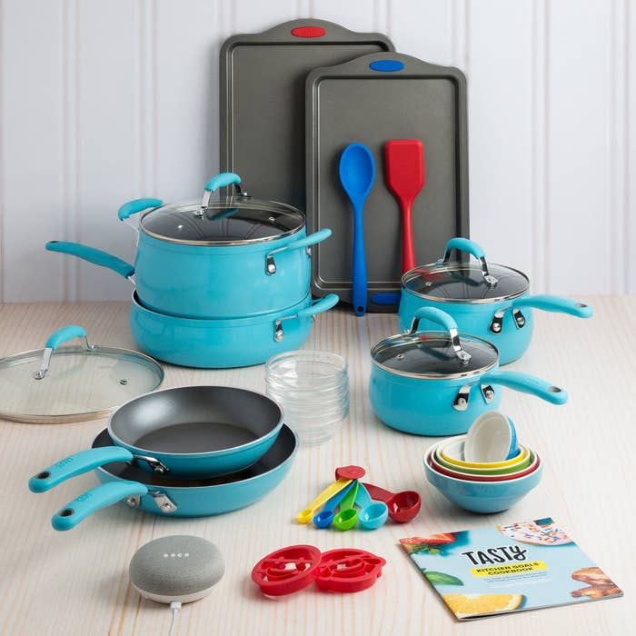 The cookware set includes two fry pans, a large pot with a lid, a Dutch oven with a lid, two saucepans with lids, small and medium-size cookie sheets, two emoji cookie cutters, a five-piece ceramic pinch bowl set, a four-piece glass bowl set, a five-piece measuring spoon set, a silicone spoon, a silicone turner, and a Tasty recipe booklet.Price: $99 ($131 off the list price; also available in copper and red)