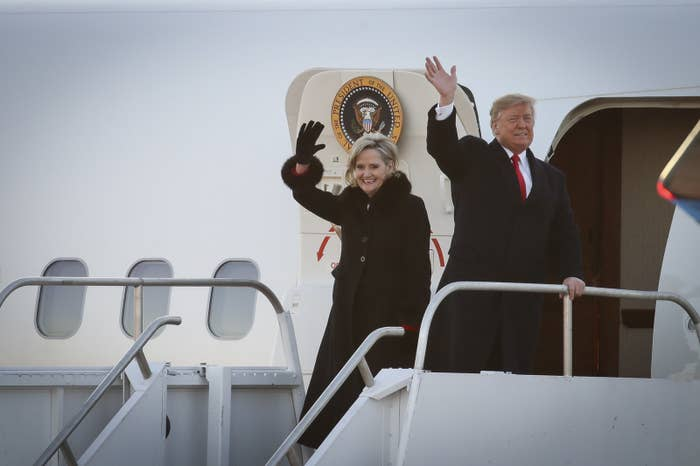 Cindy Hyde-Smith and President Donald Trump exiting Air Force One as they arrive for a rally at the Tupelo Regional Airport, Nov. 26, 2018.