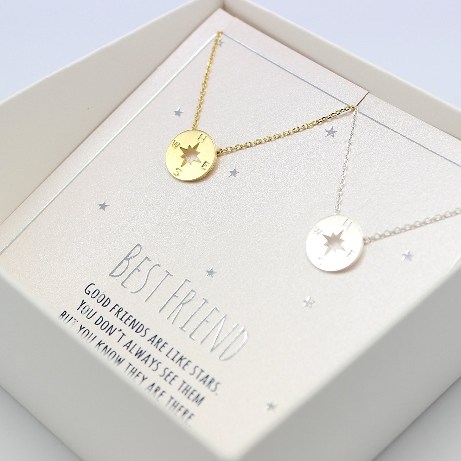 Best Friends Forever Sisters Christmas Gifts Good Friends are like Stars You don/'t Always See Them Silver Tone Chain Pendant