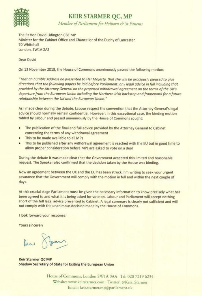 Keir Starmer's letter to David Lidington
