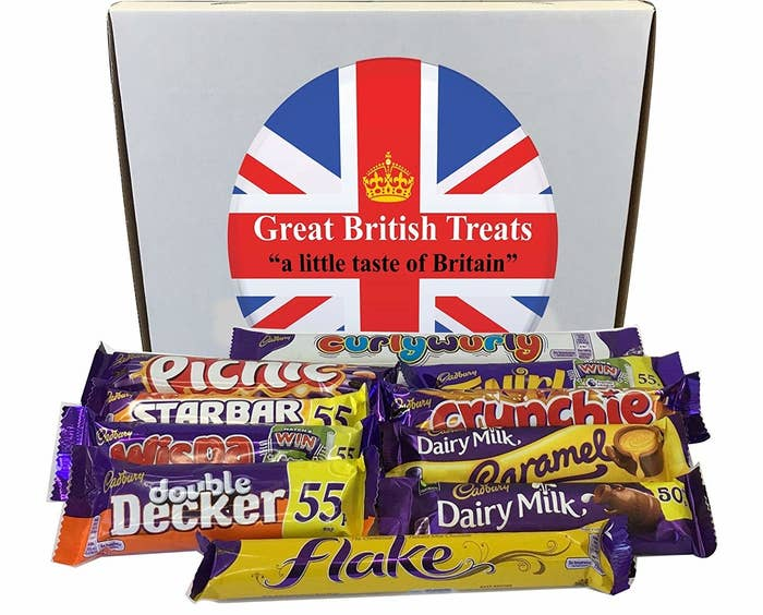 "Comes with one Curly Wurly, one Picnic, one Twirl, one Starbar, one Crunchie, one Wispa, one Dairy Milk Caramel, one Double Decker, one Dairy Milk, and one Flake.Promising review: ""Just received several days ahead of estimated delivery, which was very nice. All the chocolates/candy are very freshly dated and were protected by the packaging. The box itself was a bit dented but everything inside was perfect. I am very happy with this purchase. Several years ago, I went to a local British store and bought about $40 worth of candy for a British vs. American 'taste-off' for the kids, (we would read a book and then try to eat meals/snacks like the characters for a new experience). This was so much less expensive and I saved myself the two hour round-trip drive. Can't wait to show the kids and remind them of that taste-off picnic!"" —dpGet them from Amazon for $13.99."