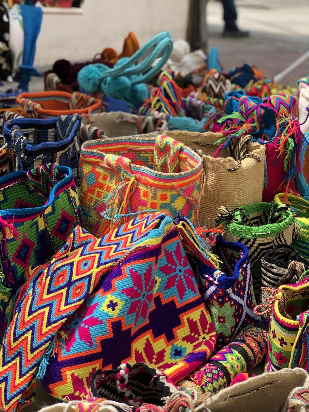 And markets filled with colorful bags.