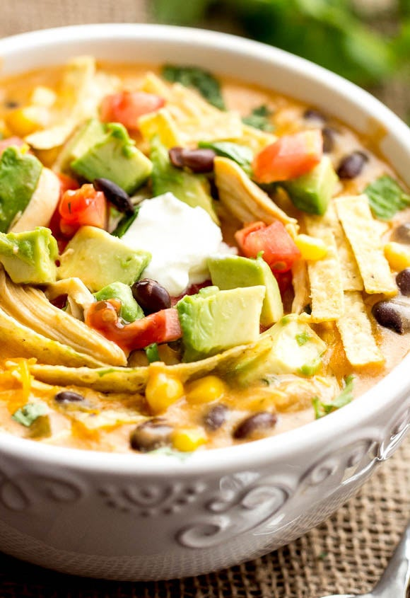 Let this creamy chicken soup simmer for a few hours. When you're ready to eat, garnish it with your favorite fajita toppings. Get the recipe.