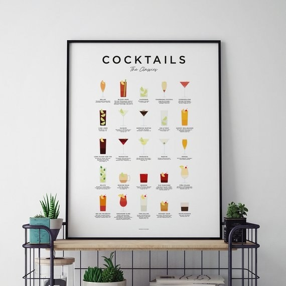 the cocktail poster framed and styled on a cart