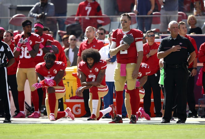 Colin Kaepernick, formerly of the San Francisco 49ers, kneels for the National Anthem on October 23, 2016 in Santa Clara, California.