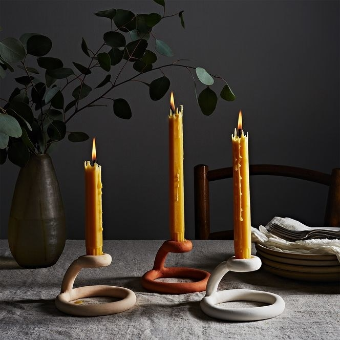 Unglazed terracotta candle holder