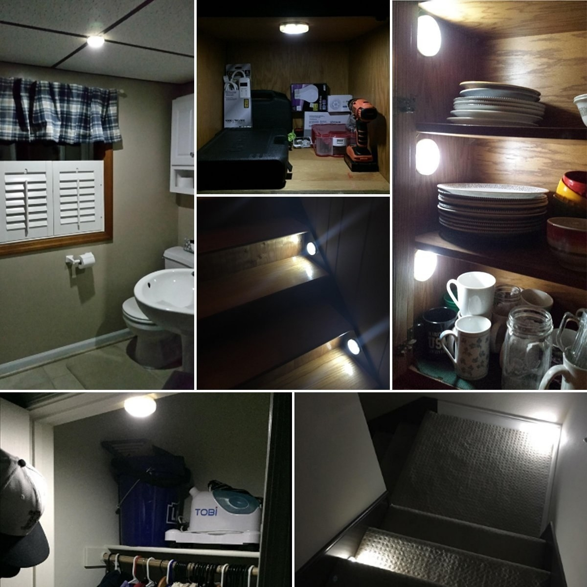 A series of photos showing the different uses of the lights in a closet, staircase, hallway, and shelving unit